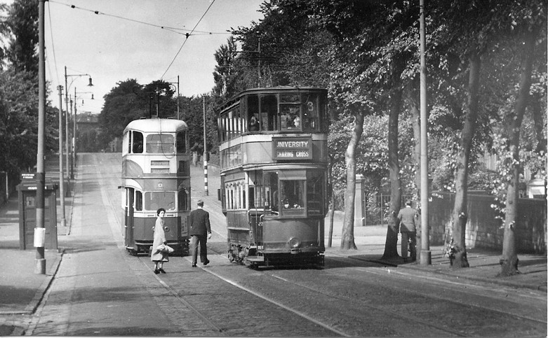 Standard Car 883 and a 'Cunarder' pass at the junction with Matilda Road. Photo: R. B. Parr