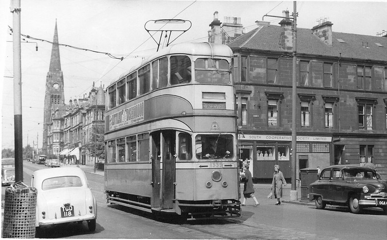Cunarder' Car 1335 at the end of the single-line test track at Kenmure Street junction.