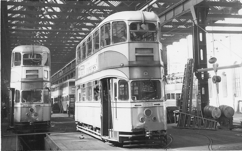 Works interior 1962.  'Cunarders' 1336 and 1377 looking rather the worse for wear.	Note buses in the background…..