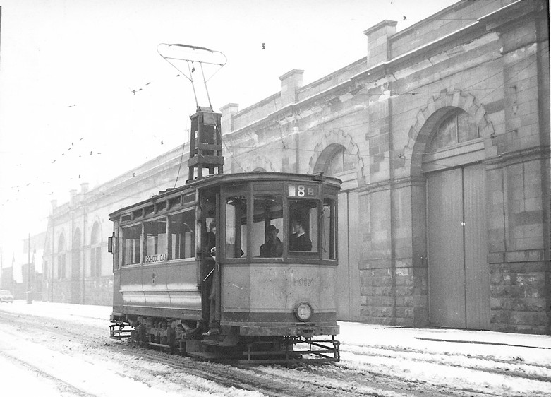 Driving School Car 1017 outside Coplawhill Works in the snow on 23 February 1958. This unique tram is now in the collection of Summerlee Industrial Museum, Coatbridge