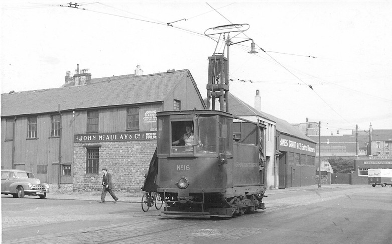 Works Car 16 at the junction of Barrland Street, 11 August 1959