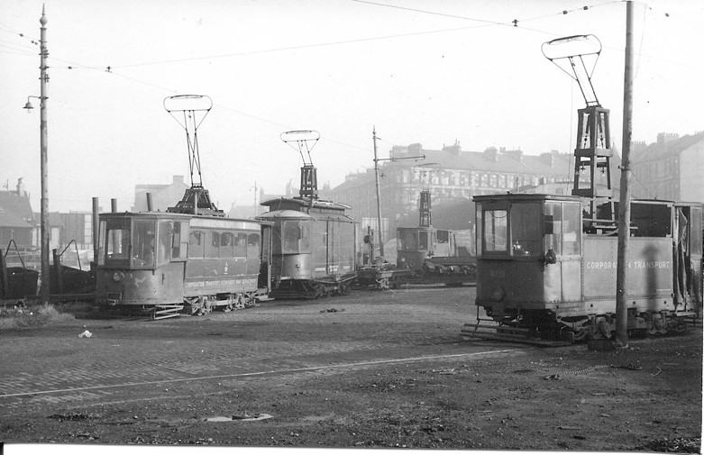 A view of the Barrland Street yards with Permanent Way Cars 19, 23, 21 and 16, 28 October 1961.