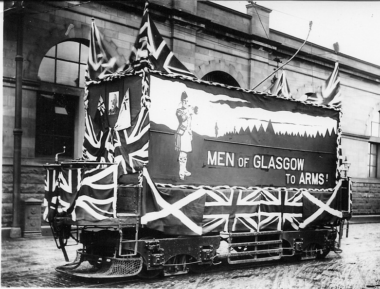 Trams were occasionally decorated for special events. This one encourages men to join up during the First World War.  Glasgow Corporation Tramways formed its own Battalion and their impressive Roll of Honour can be seen at the Riverside Museum.